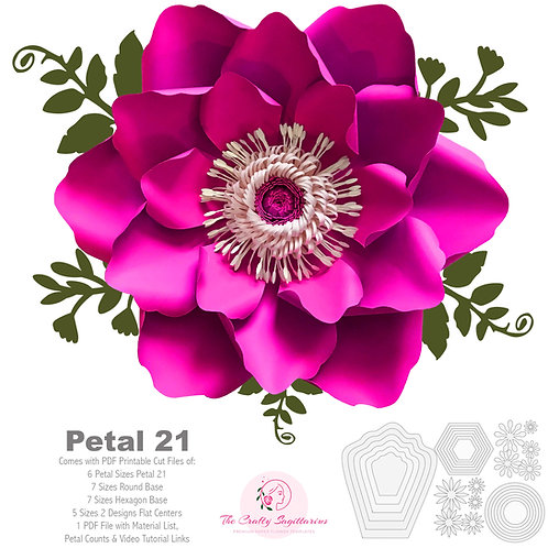 PDF PETAL 21 Paper Flowers UPDATED Template Printable to create 6 different size