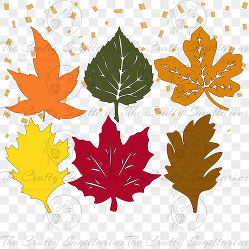 Svg PNG Dxf Set 18-6 Autumn type Leaves for Paper Flowers - MACHINE use Only