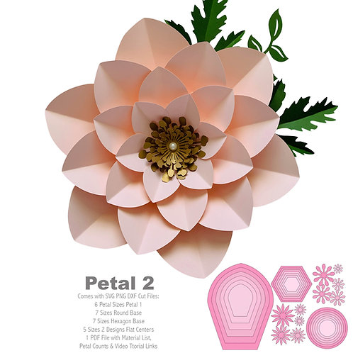 SVG Petal # 2 Paper Flower Template with Base, DIGITAL file for Cutting Machines