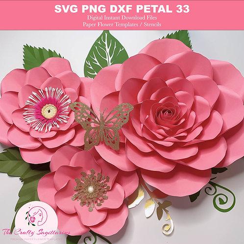 3 Sizes Petal 33 Paper Flower Templates | SVG PNG DXF | Cut Files | Pattern