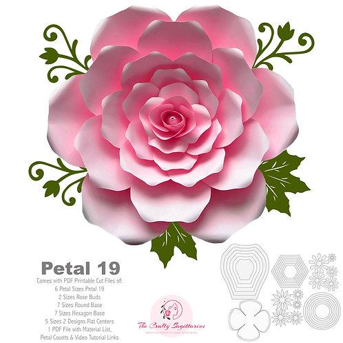 PDF Petal 19 Paper Flowers template w/ Rose Bub Instant Download Printable