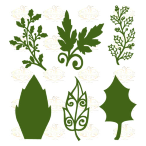 Set 17 Svg PNG Dxf 6 designs Christmas set different Leaves for Paper Flowers