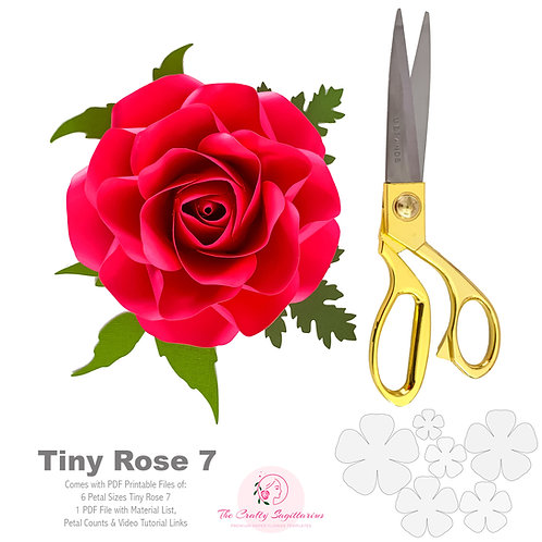 PDF Printable Tiny Rose 7 Cut Files Cutting Machine No resizing needed