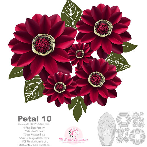 PDF Petal 10 Paper Flowers Printable Template Comes with Flat Centers & Bases