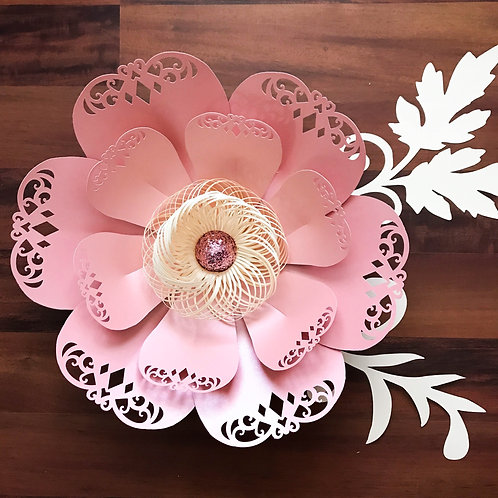 Paper Flowers - SVG Lace Petal#3 Flower Template Fringe stripe fluffy center inc
