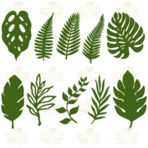 Set 14 SVG PNG DXF  10 different Tropical Leaves for Paper Flowers Machine only