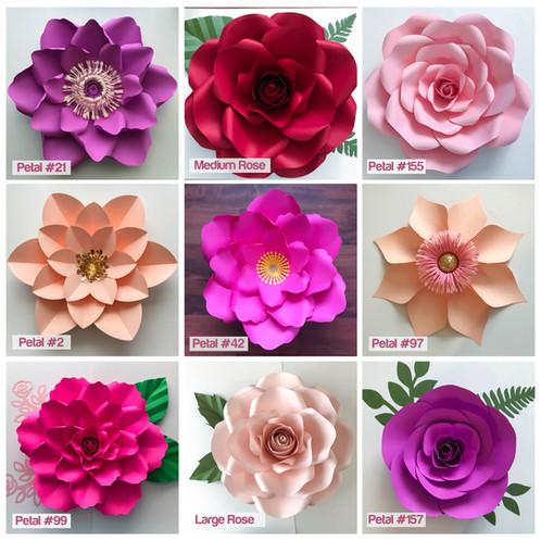 Svg 11 paper flower wall flower template set files for cutting svg 11 paper flower wall flower template set files for cutting machines mightylinksfo