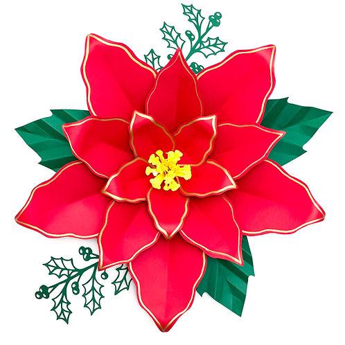 "SVG PNG DXF 16"" Poinsettia 4 Paper Flowers Template Cricut Silhouette"