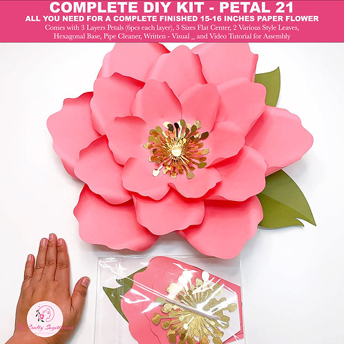 Complete Paper Flower Kit | Petal 21| DIY Ready To Assemble Giant Paper Flower |
