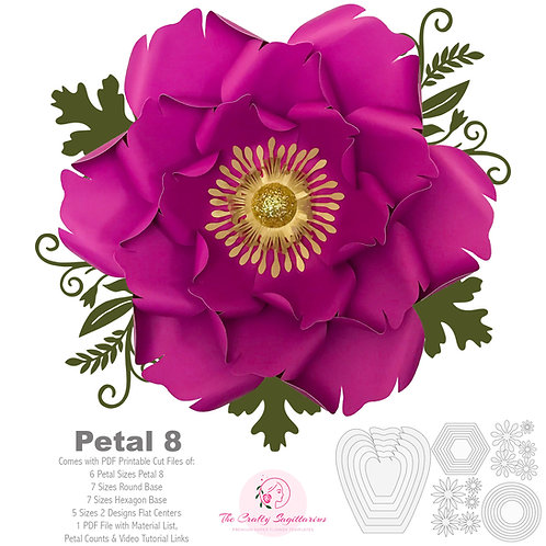 PDF Petal 8 Printable Paper Flowers Template with Base and flat centers instant