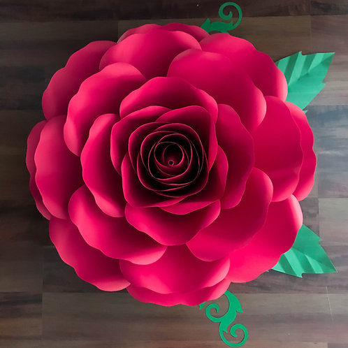 PDF A4 XL Rose Paper Flower Templates w/ Rose Bub Center included Printable