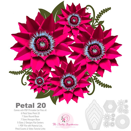 PDF Petal 20 Printable Digital Instant download Paper Flowers Template
