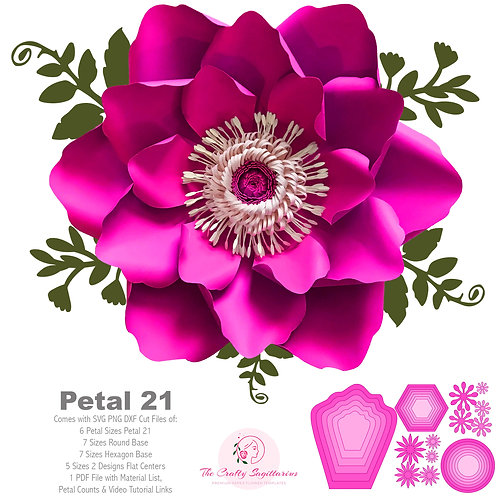 SVG PNG DXF Petal 21 Paper Flowers Template  6 sizes Base 5 Sizes Flat Center