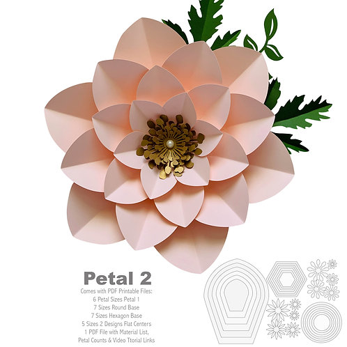 PDF Petal  2 Printable Paper Flower Template with Base,- DIY Trace and Cut File