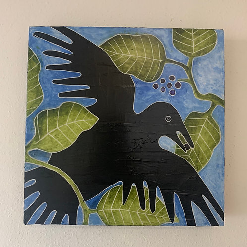 'Alala with 'olapa tree- Carved acrylic on board 12x12