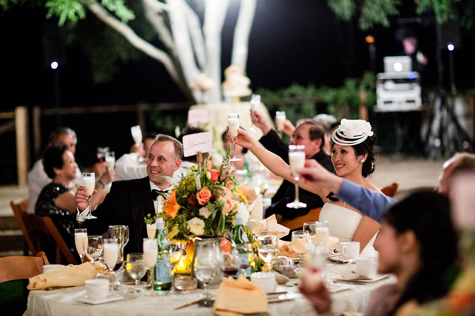 Wedding guests smiling and raising champagne glasses for a toast