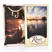 Laminated trifold menus for Tanner Jacks and Rose's Bar & Grill