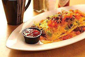 Steak omelette with salsa