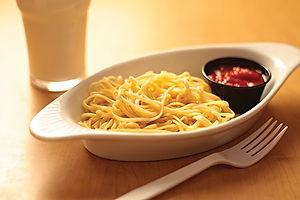 Junior Spaghetti dish with noodles and tomato sauce