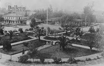 Black and white photo of the Orange Plaza, 1891