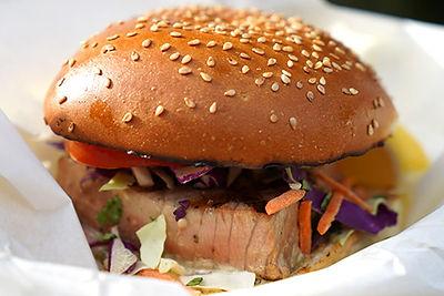 Ahi Beach Burger on a sesame seed bun