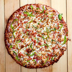 Overhead View of a Medium Size BBQ Chicken Pizza