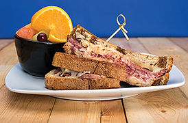 Reuben Sandwich with fruit