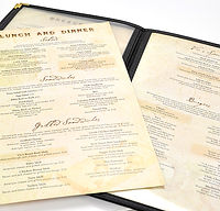 Vic's Cafe menu inserts with menu cover