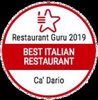 Restaurant Guru Best Italian Restaurant 2019 award