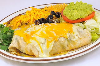 Burrito topped with melted cheese and olives, with rice and refried beans