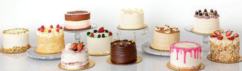 Display of 11 cakes of different flavors and frostings