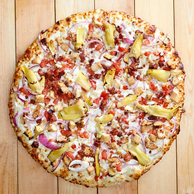 Overhead View of a Medium Size Groumet Chicken Bacon Pizza