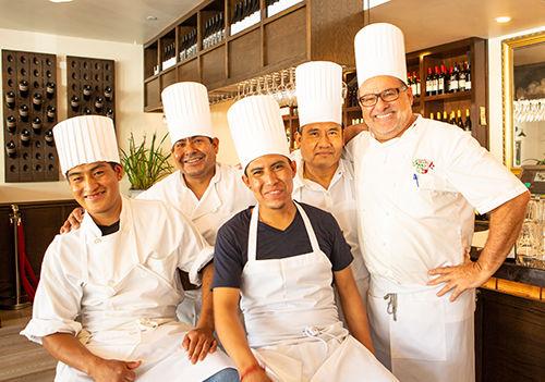 Dario with chefs of Ca'Dario Restaurant