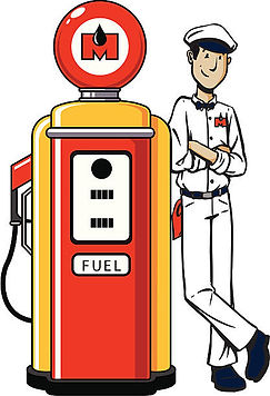 Clipart of gas station attendent next to old gas pump