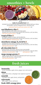 Bliss Cafe smoothies, bowls, and fresh juices menu board