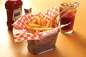 A side of fries in a basket