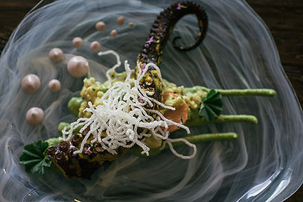 Peruvian octopus dish with sauces