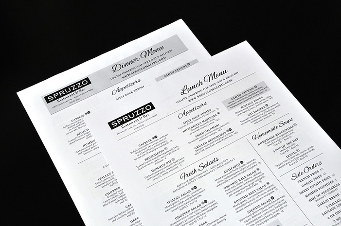 Spruzzo Disposable Menus