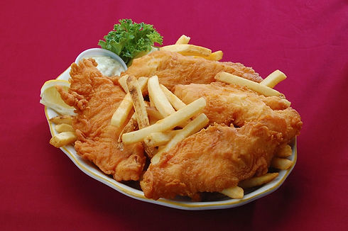 Fish and Chips dish with golden crispy fried fish and fries