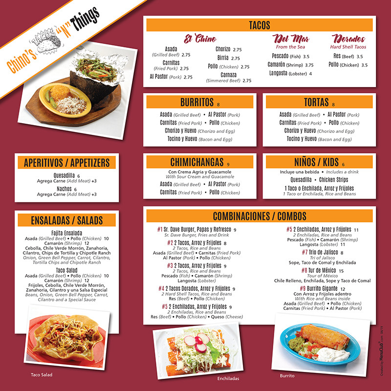 Chino's menu board