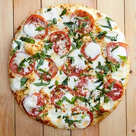Overhead View of a Medium Size Margherita Pizza