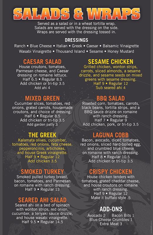 Laguna Grill salads and wraps menu board
