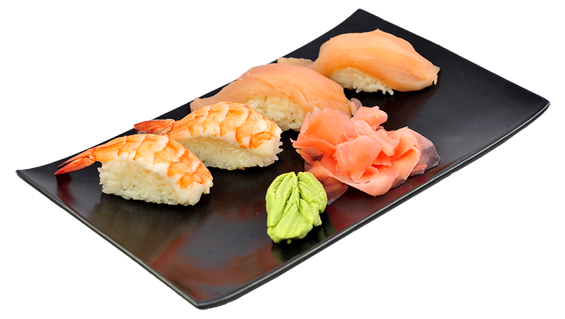 4 pieces of nigiri sushi on a plate with wasabi and pickled ginger