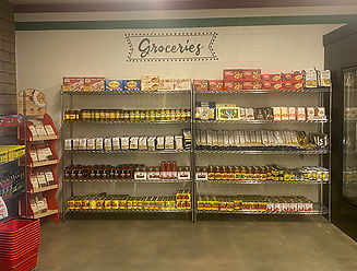 Shelves displaying European grocery items for sale
