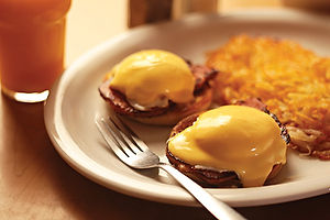 Sammy's Eggs Benedict with hash browns