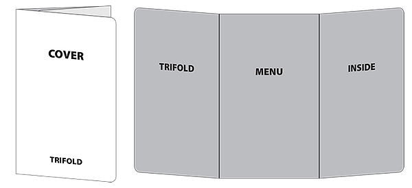 Wireframe of trifold house menu
