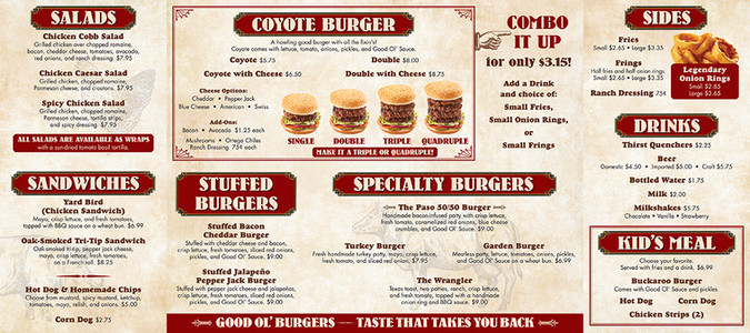 Good Ol' Burgers menu board