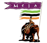 Clipart of man on elephant holding banner that says Mela