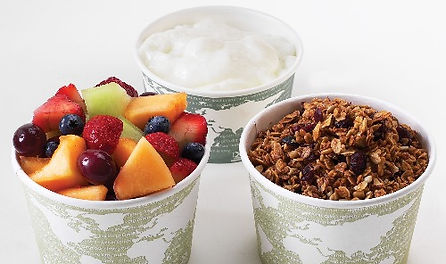 3 cups of yogurt, homemade granola, and delicious fresh fruit to make yogurt parfaits
