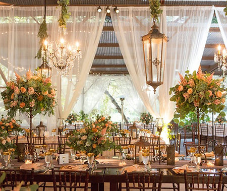 Elegant wedding scenery with decorated tables